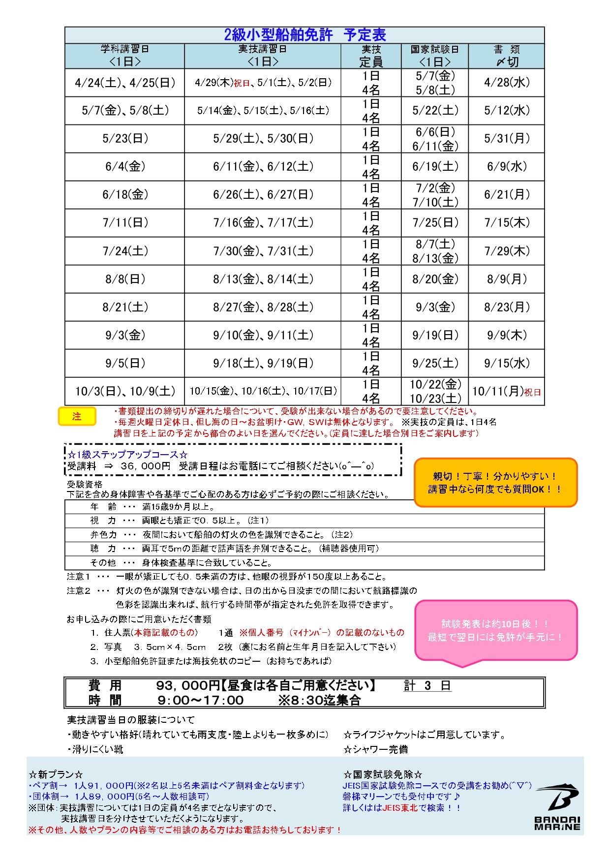 ☆2021年度・BM船舶免許教室☆